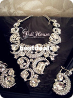 Wholesale Ultralarge quality rhinestone luxury the bride necklace set Large earrings bride chain sets marriage accessories