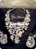 Ultralarge quality rhinestone luxury the bride necklace set ...
