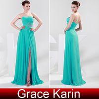 GK Stock Strapless Chiffon Split Prom Dresses Ball Gown Even...