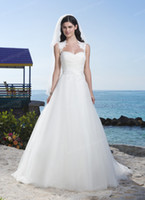 Wholesale Beautiful A Line Beach Wedding Dress Bridal A Line Tulle Flower Sash Corset Fit And Flare Wedding Party Gown