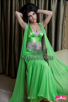 Reference Images V-Neck Chiffon Amazing 2014 Evening Gowns Dresses Hot Green Arabic Kaftan Evening Dress A-Line V-Neck Chiffon Appliques Crystal Abaya Dubai Evening Gowns