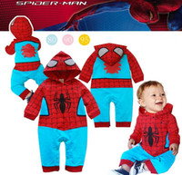 Boy Spring / Autumn Cotton Blends 13112804-BR Wholesale New Winter 2013 Baby Rompers Cool Spider Hood Long Sleeve Baby Boys Bodysuits Winter Clothing Free Shipping