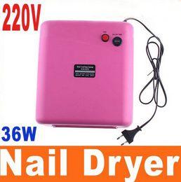 Wholesale EU Plug Pink UV Lamp W V Nail Gel Curing Nail Art machine with nm UV Bulb Nail dryer
