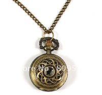 Wholesale Minimum order amount US can mix order fashion new bronze mini round flower figure antique pocket watch necklace chain hour