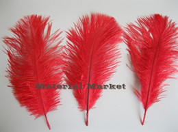 wholesale free shipping 100pcs lot 8-9inch(20-25cm) Red Ostrich Feather Plumes for wedding party event feather centerpiece