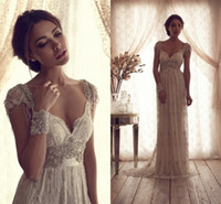 Wholesale High Quality Vintage Sheath Wedding Dresses Sheer Anna Campbell Lace Bridal Gowns Lace Backless Church Wedding Custom Beading Charming