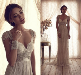 Wholesale High Quality Vintage Sheath Wedding Dresses Sheer Anna Campbell Lace Bridal Gowns Lace Backless Church Wedding Custom Beads Charming