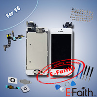 For Apple iPhone LCD Screen Panels white or black Wholesale - white Glass Touch Screen Digitizer & LCD Assembly Replacement For iPhone 5 5g & Tools & Freeshipping