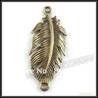 Jewelry Findings bronze craft - 120pcs Tibet Jewelry Connectors Findings Antique Bronze Alloy Leaf Pendant Fit Necklace Craft Making mm