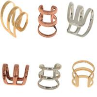clip on earrings - New Punk Rock Ear Clip Cuff Wrap Earring No piercing Clip on Silver Gold Bronze JE05030
