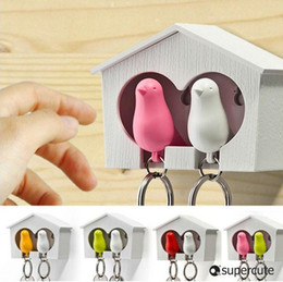 Wholesale New amp Top fashion plastic sparrow key ring cute bird house key holder plastic Whistle keychain plastic animal keychain bird nest