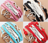 Wholesale 24pcs Antique Charm One direction Heart Infinity Braided colors mix Leather Bracelets Fashion Wristbands Jewelry