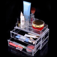 acrylic drawer organizers - 2013 Hot Sell waterproof Cosmetic boxes organizer makeup drawers Display Jewelry Acrylic Box Cabinet Cases Set SF