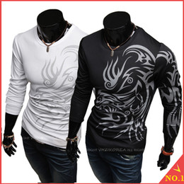 Wholesale European and American style dragon totem tattoo long sleeve Brand poloshirt T shirt for men tshirt Big Size Hot