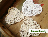Wholesale cotton hand made Shaped Heart Crochet Doily cup mat