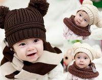 Girl Winter Crochet Hats New Fashion Korean Flash Drill Baby Hat Love Dual Ball Knitted Girls Boys Wool Cap 5 colors free shipping