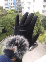 Wholesale Romantic Seoul Winter thickening warm rabbit hair female leather gloves