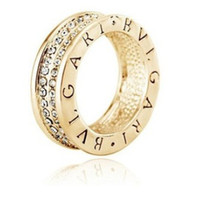 Wholesale Fashion Gold Silver English Letter Engraved Rings with Sparkling CZ Diamond Cool Rings For Men Wedding Band R028