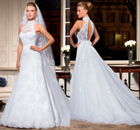 Wholesale High Neck Princess New Cheap Long Church Backless Vintage Halter Wedding Ball Gowns Beaded Crystals Garden Bridal Dresses Sheer Dress