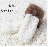 Wholesale 10 winter new lovely lady upset with velvet warm maomao hanging neck wool knitting gloves