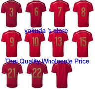 Wholesale Thai Quality Customized Soccer Jerseys Spain World cup Home Red Jersey Football Jerseys Soccer Jersey Top Soccer Shirts