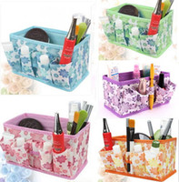 Wholesale 5 colors available Fabric Folding Cosmetics Storage Box Desktop Organizer Case For Jewelry Toys