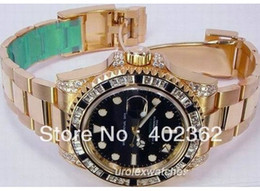 Wholesale High quality WATCH BOX AMAZING MENS ll GOLD PAVE DIAMOND BEZEL PERPETUAL SANR MEN LUXURY WATCHES