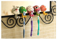 Wholesale cute Cartoon sucker toothbrush holder suction hooks