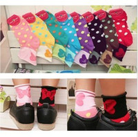 Wholesale sexy Winter fun living lovely large bow wave wave point Ms cotton socks in tube socks factory