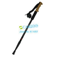 Trekking Poles Wood 17487# Adjustable 3-Step Aluminum Alloy 3-section Hiking Pole Telescopic Antishock Pole Walking Stick Cork Handle Bar 17487