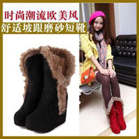 Wholesale Autumn and winter snow boots elevator boots high heeled boots platform female shoes cotton padded shoes women s boots