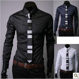 Wholesale 2014 New Obscure Plaid Men s Shirt Cotton Blended Slim Lapel Collar Black Solid Color Business Casual Men s Dress Shirts E021