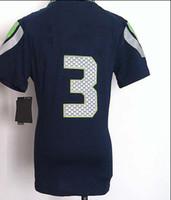 Football Women Short Women American Football Jerseys #3 Russell Blue Jerseys Embroidery logs Cheaper