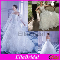 Ball Gown Reference Images Strapless 2014 Demetrios New Style Ball Gown Chapel Train Ruffles Tiered Layered Strapless Wedding Dresses Lace Applique Bridal Gown Sensualle Gr249