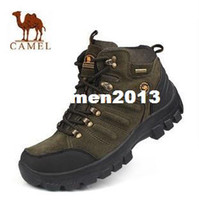 Wholesale 2014 new brand waterproof leather men s hiking shoes heavy bottomed high top hiking boots warm shoes