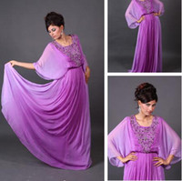 Reference Images Crew Chiffon Amazing 2014 Prom Gowns Dresses Green Arabic Kaftan Evening Gowns A-Line light Purple Chiffon Crew Appliques Abaya Dubai Evening Gowns