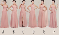 Wholesale Custom Made Real Photos Party Prom Dresses Chiffon Long Skin Color Bridesmaid Dress For Maid of Honor