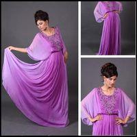 Reference Images Crew Chiffon Amazing 2014 Evening Gowns Dresses Hot Purple Arabic Kaftan Evening Dress A-Line Crew Purple Chiffon Appliques Abaya Dubai Evening Gowns