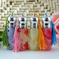 Wholesale 6ml Roll on Glass Perfume Vials Flower Painting Scented Bottle Cosmetic Containers Skin Care Tools DC562