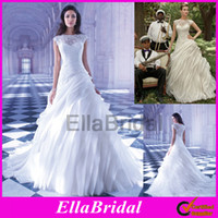 Cheap 2014 Demetrios White Organza A Line Chapel Train Layered Tulle Lace Jewel Neckline Cap Sleeve Bridal Gowns Wedding Dresses Sensualle GR251