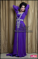 Reference Images Square Chiffon Amazing 2014 Prom Gowns Dresses Arabic Kaftan Evening Gowns Long Sleeve Sheath Purple Chiffon Silver Appliques Abaya Dubai Formal Gowns