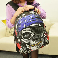 Wholesale Personalized Skull Printed Canvas Bag Outdoor Casual Women Backpacks School Bags Unisex Fashion Shoulder Bags TN12150