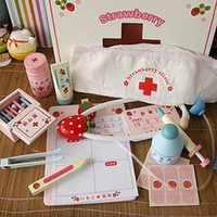 Wooden Pink Girls Mother garden girl's doctor role playing game wooden medicine box toys set