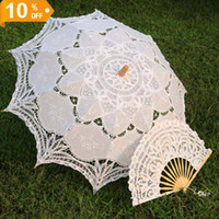 Wholesale White Embroidered Battenburg Lace Parasol and Fan Sun Umbrella Set Bride Adult size Vintage