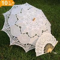 battenburg lace parasol umbrella - White Embroidered Battenburg Lace Parasol and Fan Sun Umbrella Set Bride Adult size Vintage