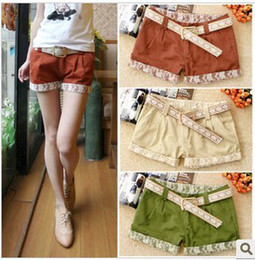 Wholesale fashion lace decoration roll up hem casual Pants with belt