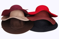 Wholesale Wool Bowknot Band Floppy Hat Wide Brim Crushable Series Caps Fashion Lady Women s Summer Beach Felt Trilby Caps Colors Selection