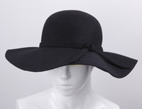 Wholesale Wool Bowknot Band Floppy Hat Wide Brim Crushable Series Caps Fashion Lady Women s Summer Beach Felt Trilby Caps Black DII4