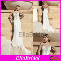 A-Line Reference Images Sweetheart 2014 Demetrios Ivory Chiffon A Line Sweep Train Ruched Beaded Sweetheart Spaghetti Low Back Beach Wedding Dresses Bridal Dress Gown DR190
