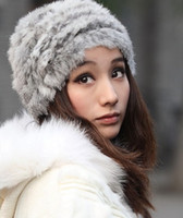 Cheap Cloche rabbit fur hats Best Black Yarn Dyed Fur warm hat for winter